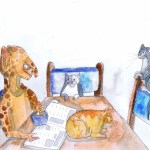 Painting showing the cats waiting for the dregs of the cereal bowl