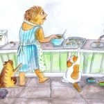 Painting showing the cats annoying me in the kitchen