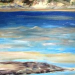 Painting of the beach where the Snowy river hits the shore.