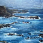 Oil painting of misty day at philip island, waves crashing