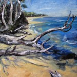 Painting of tthe shore at the mouth of the snowy river in victoria.