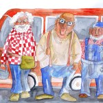 watercolour and pen on paper, painting by avril jean of three grouchy old white haired men come to obstensibly fix something in my house but instead to insult me
