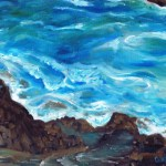 Painting, study of waves and rock pools