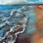 oil paiting ofa beach at evening whith lots of nice shadows