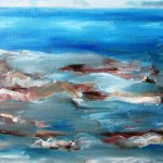 Painting of waves breaking over a rocky shoreline, art by avril e jean