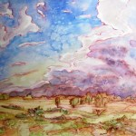 Painting of the storm clouds coming in the desert. This is from the carpark at ularu (ayers rock) facing the other direction.