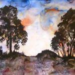 A painting of the sun setting through very distinctive australian treeline