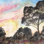 A painting of the sunset coming through australian trees
