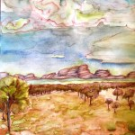 Painting of the olgas and storm clours ahead