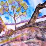 Painting in purples of a hill with trees, Terrik Terrik NP