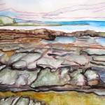 Painting of the rocky platform at the beach.