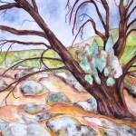 Painting of a gnarled tree and granite rocks at Terrik Terrik National Park