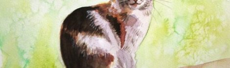 a watercolour painting of a tortoiseshell cat
