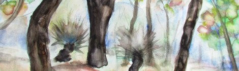 Watercolour painting of a landscape with eucalyptus and grass trees