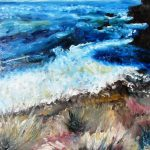 An oil painting showing a view of a white crashing wave on rocky shore at blairgowrie