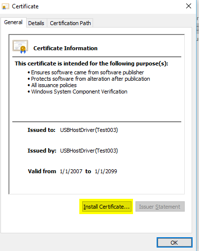 Certificate Install