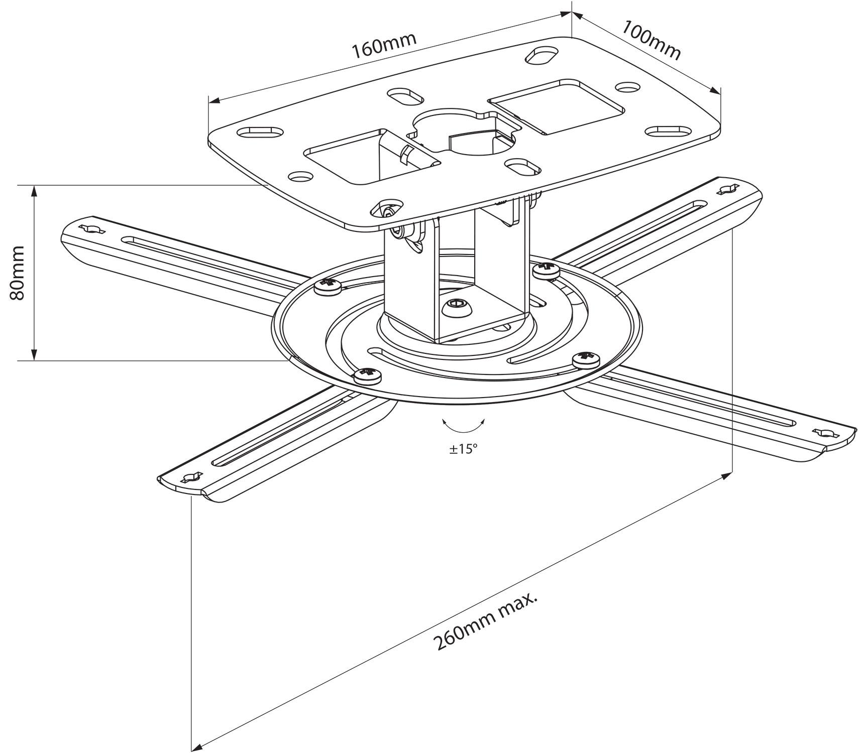 Universal Lcd Dlp Tilt Adjustable Projector Ceiling Wall