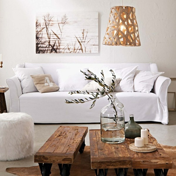 a wooden coffee table in the living