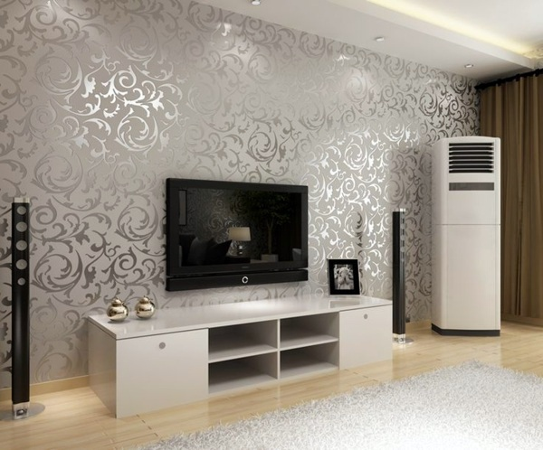Living room wall design ideas     cool examples of wallpaper pattern     Silver and shiny Living room wall design ideas   cool examples of wallpaper  pattern