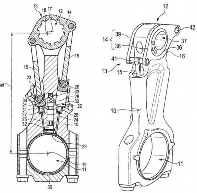Patentna skica rešitve relativnega giba bata, ki omogoča spremembo prostorninskega razmerja.