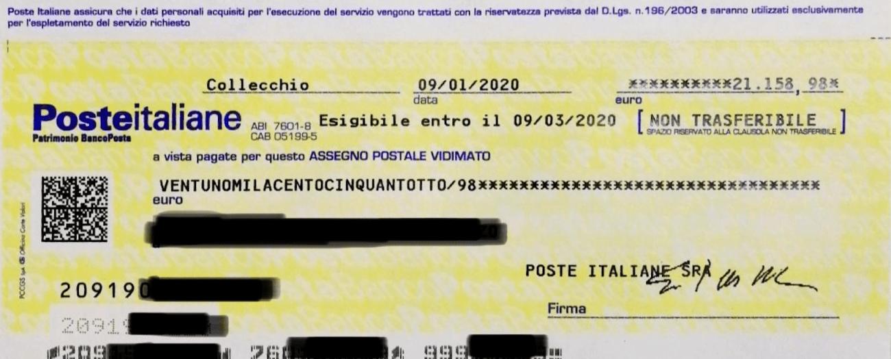 Assegno di risarcimento pagato da Poste per un Buono Serie PQ del 1987