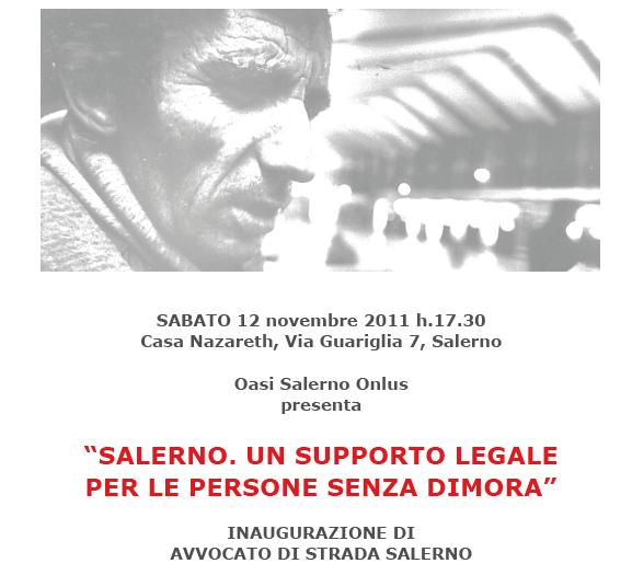Apre a Salerno un nuovo sportello di tutela legale gratuita per le persone senza dimora