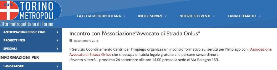 24.09.15 Torino. Incontro formativo sui servizi per l'Impiego