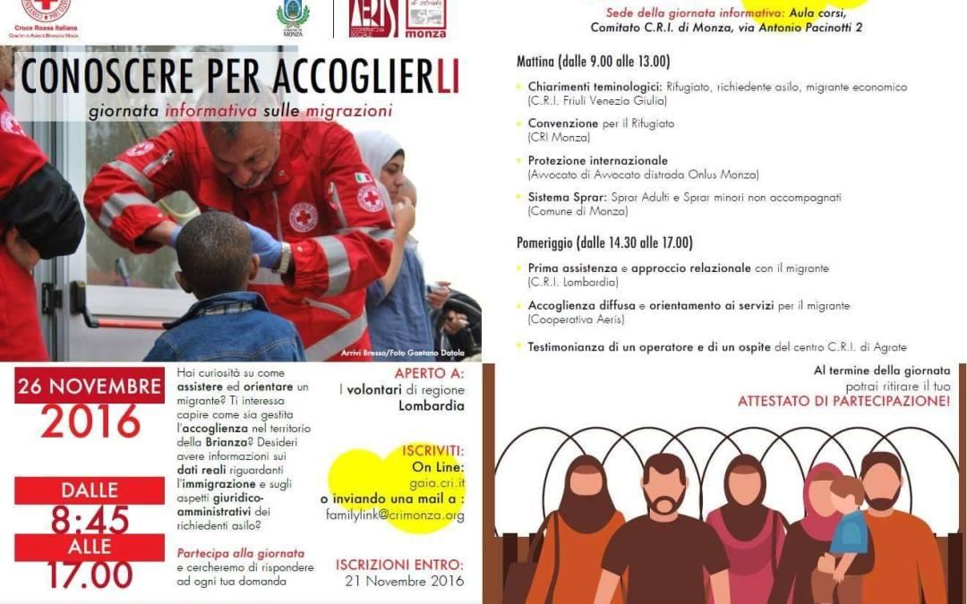 """26.11.16 Monza, """"Conoscere per accoglierli"""""""
