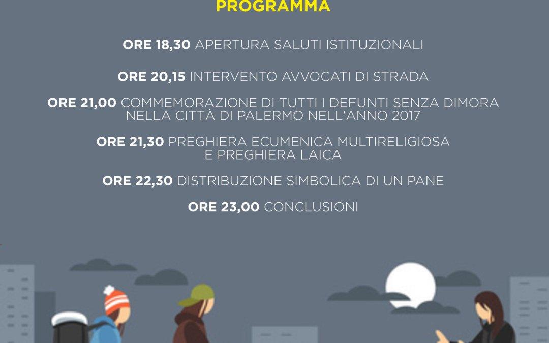 27.10.17 Notte senza dimora a Palermo, in ricordo di tutte le persone senza dimora scomparse