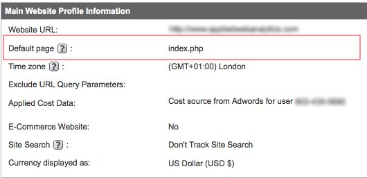 Google Analytics Default Page Setting - Incorrect