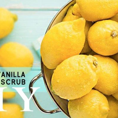 Lemon and Vanilla Sea Salt Scrub. DIY. Awake Organics Therapeutic Grade Essential Oils. Natural Ingredients for Beautiful Skin. Made in England.