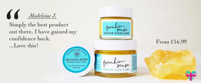 Frankincense Benefits face cream. By Awake Organics natural skin care for normal, dry and mature skin. Organic frankincense for skin, UK.