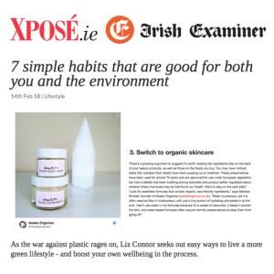Award-Winning, Organic Aura Clean Deodorant. Natural Deodorant That Works. Organic. By Awake Organics. Natural Deodorant UK, Natural Deodorant for Women. I Melissa Kimbell is quoted in XPOSE, Irish Examiner.