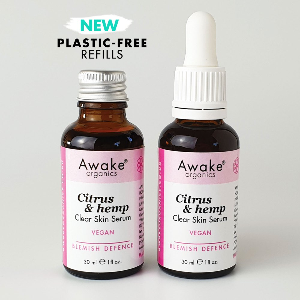 Plastic free packaging | citrus | hemp | natural vegan face serum | UK | cruelty free | paraben free | blemish prone | oil skin | adult acne | awake organics | natural skin care brand UK | main image 2