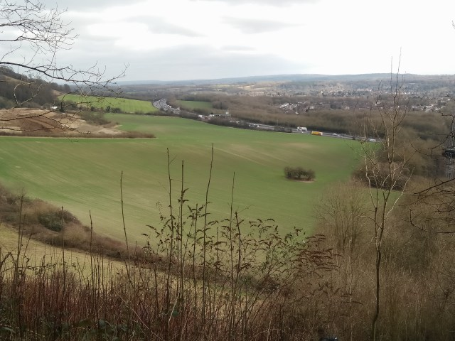 Looking down to the quarry and Oxted