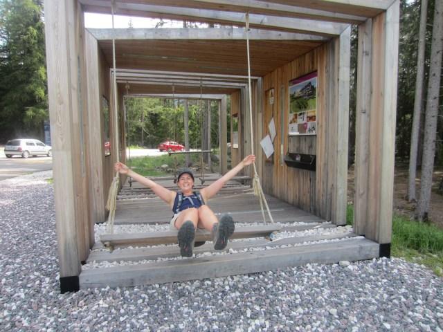 Swings on the path to Panider Sattel