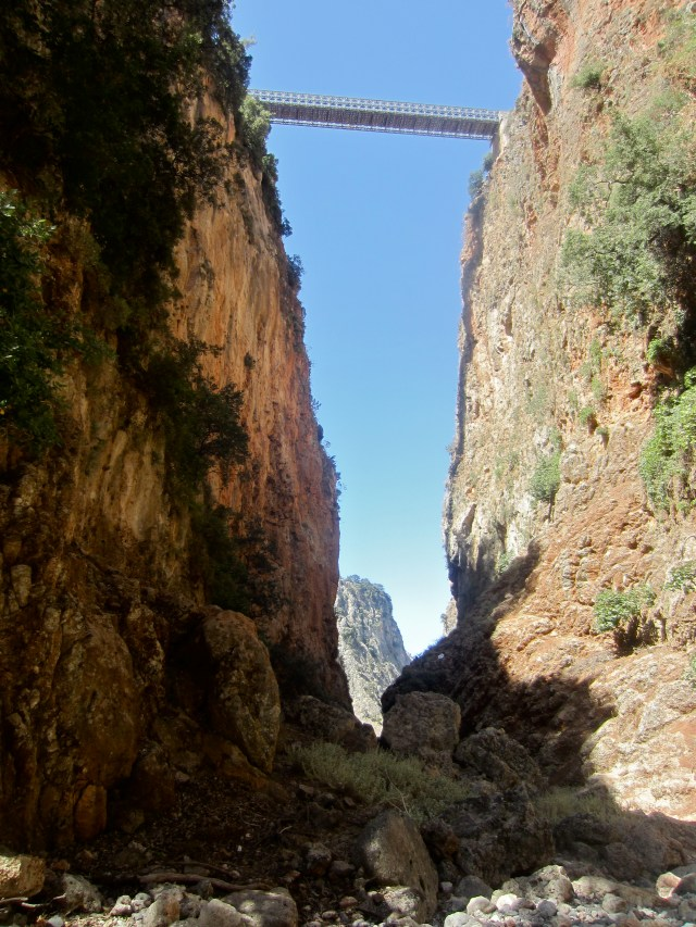 Walking through Ardinia Gorge - we'd just climbed down from that bridge