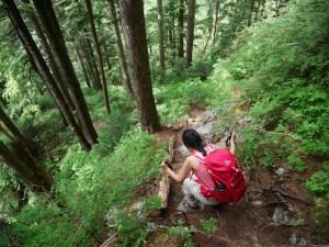 Amazingly steep path on Evan's Peak