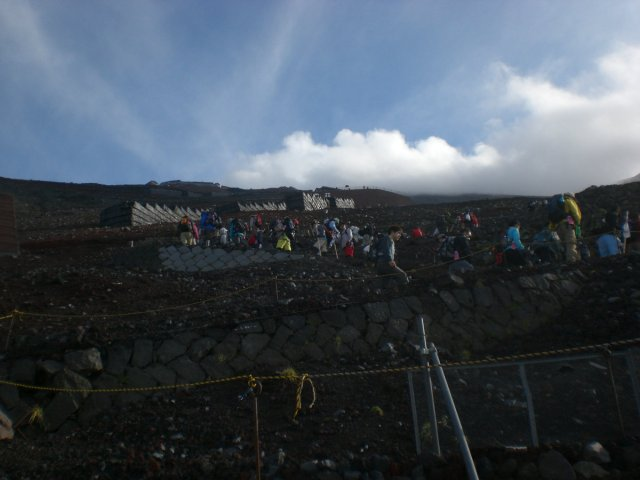 Looking up at Mount Fuji from the 6th station