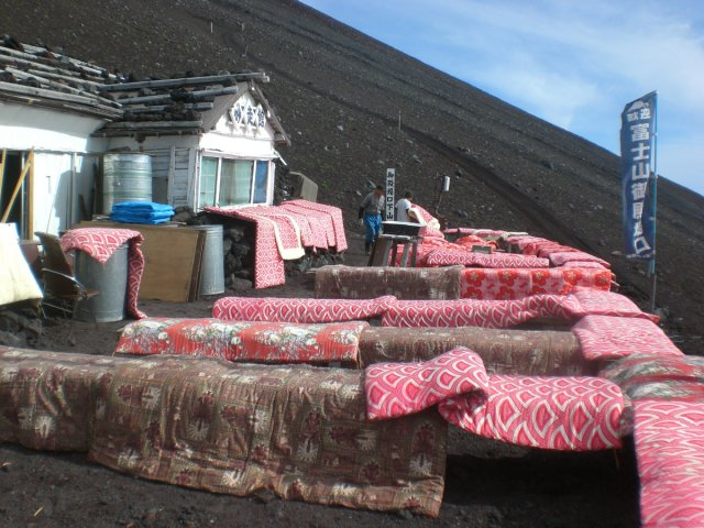 Futons hung out to air on mount fuji