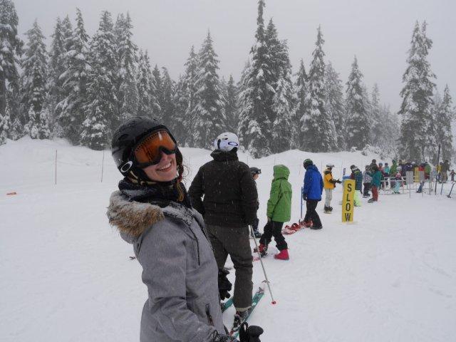 Smiling ski superstar