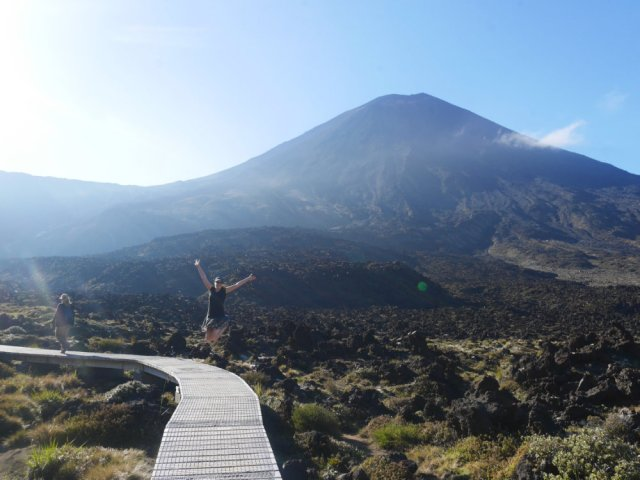 Jumping in front of Mount Ngauruhoe