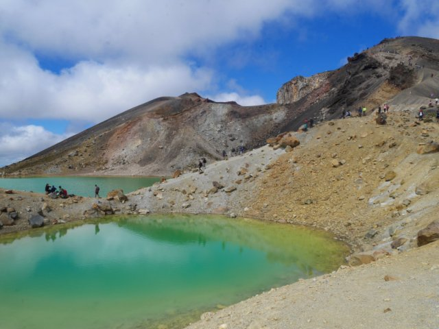 Emerald lakes with the red crater