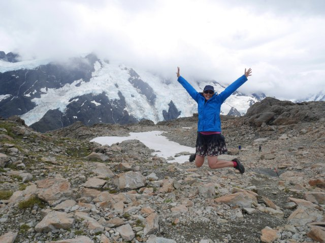 Jumping in front of Mount Sefton