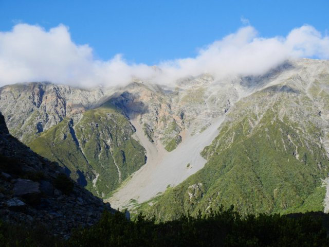 The clouds came down to hide Mount Ollivier