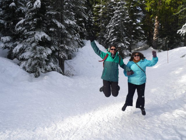 Jumping in the snow on Grouse Mountain