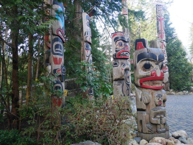 The totem poles at the capilano suspension bridge park