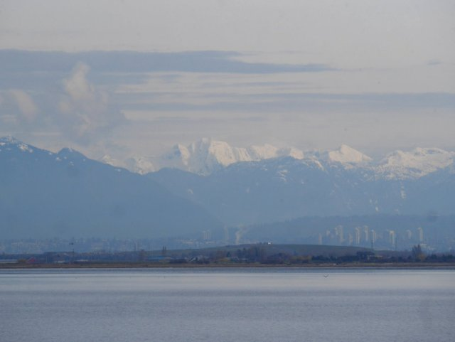 Boundary Bay, looking back to Burnaby and mountains