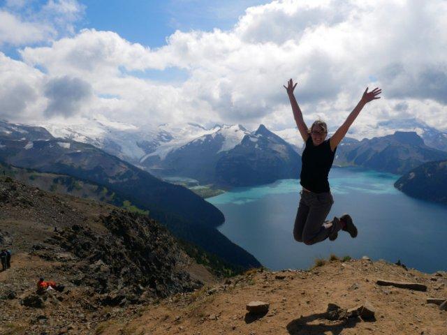 Jumping on panorama ridge