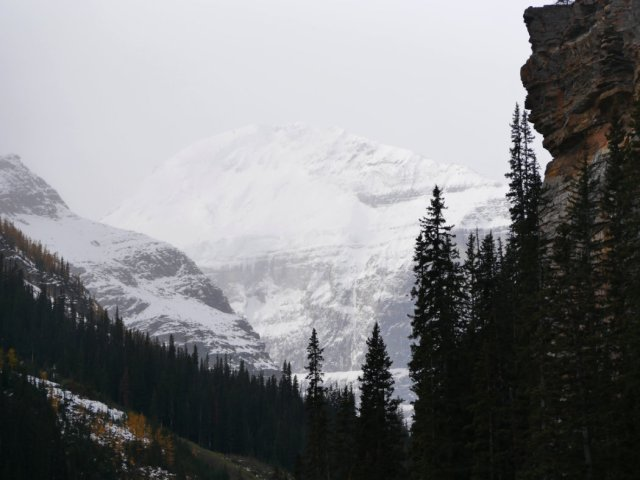 Mount Victoria above the path to the Plain of Six Glaciers
